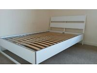 SULTAN by IKEA White Double Bed Frame - Wood and Metal
