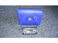 Blue leather bag and matching purse