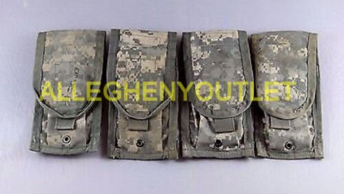 Qty (4) US Military Issue MOLLE II Double Mag Pouch ACU Camo Magazine Pouch VGC