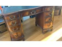 Large Twin Pedestal Solid Dark Wood Desk | Quick Sale Wanted | COLLECTION ONLY
