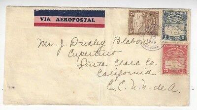 1930 Maracaibo Venezuela Airmail To Cupertino Ca 5C  75C  1B