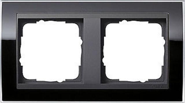 0212738 Gira schwarzer Abdeckrahmen Event, 2fach, anthrazitfarb. Zentraleinsätze