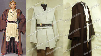 Star Wars Jedi Master Obi-Wan Kenobi Ben Tunic COSplay Costume Outfit+Cloak/Robe](Jedi Robe Costume)