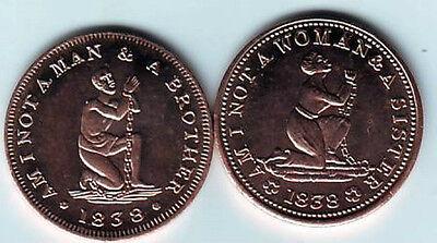 1838 USA Hard Time token Anti-slavery- modern restrike
