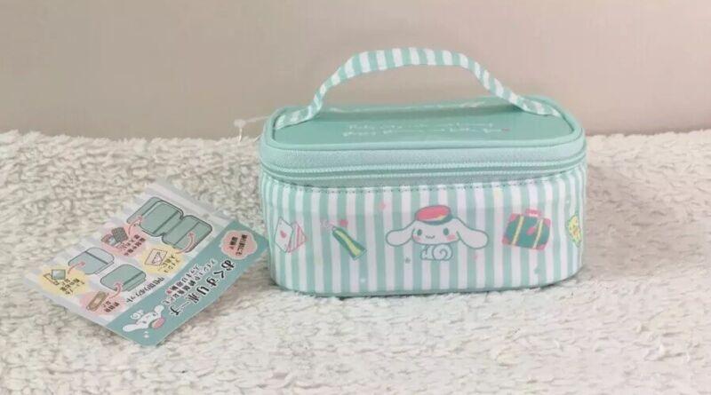 Sanrio Japan Cinnamoroll Mini Makeup Case Blue Stripe Travel Series Kawaii Puppy