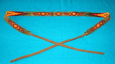 "Beaded Hatband Geometric Cowboy Cowgirl Western 20"" + 8"" leather ties ea end #02"