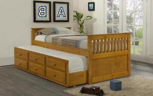 ***BLOWOUT SALE**** TRUNDLE BED WITH DRAWERS - HONEY **LOWEST PRICES