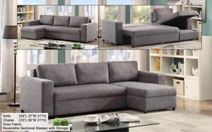 ***BLOWOUT SALE**** SECTIONAL SOFA BED WITH REVERSIBLE CHAISE (GREY)**LOWEST PRICES