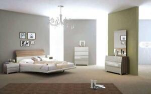 Bedroom Set with Lacquer Head Board 8 pc - Walnut & Light Grey Queen / Walnut & Light Grey