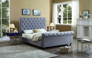 Platform Sleigh Bed with Button Tufted Linen Style Fabric - Grey King / Grey / Linen Style Fabric