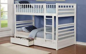 *** BRAND NEW *** HUGE SALE *** BUNK BED - TWIN OVER TWIN WITH 2 DRAWERS SOLID WOOD - WHITE***LIMITED STOCK****