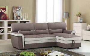 Elephant Skin Sectional Sofa Bed with Left Side Or Right Side Chaise - Brown   Beige Right Side Chaise / Brown   Beige