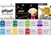 GIFFGAFF £10 FREE, MOBILE PHONE PAY AS YOU GO SIM CARD O2 NETWORK