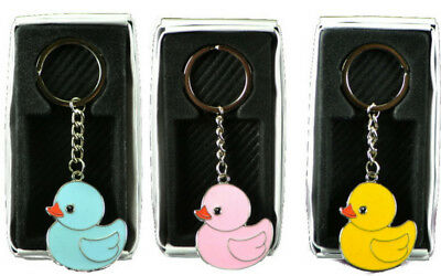 12PC Baby Shower Metal Key Chain Duck Theme Decorations Ducky Favors Pink Blue - Duck Baby Shower Decorations