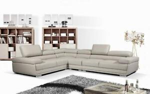 Leather Sectional Sofa with Adjustable Headrest - Charcoal   Grey Grey