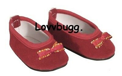 Lovvbugg Red Velvet Bow Flats for American Girl 18 inch and Bitty Baby 15 inch Doll Clothes Shoes