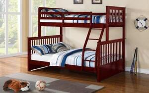 Bunk Bed - Twin over Double Mission Style Solid Wood - Cherry 799