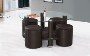 Coffee Table with 4 Stools - Black or Brown Brown