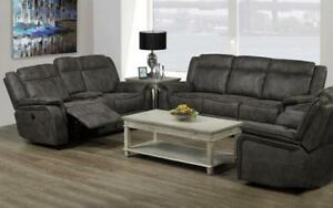Recliner Set - 3 Piece - Air Suede Fabric [Grey] 3 pc Set / Grey