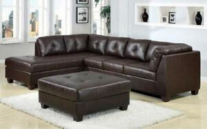 Leather Sectional Set with Left Side Or Right Side Chaise and Ottoman - Dark Brown Left Side Chaise / Dark Brown