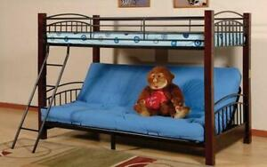 Futon Bunk Bed - Twin over Double with Metal and Wood - Black & Espresso Black & Espresso