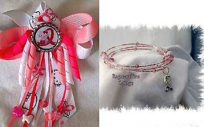 Breast Cancer Awareness Bows (Hello Kitty Breast Cancer Awareness Hair bow w/Beads or Memory Bracelet)