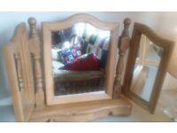 3 way heavy pine dressing table mirror in vgc
