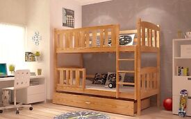 Brand New Children Wooden Bunk Bed Winnie Solid Pine 2x Foam Mattresses+Storage/Drawer Included