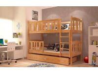 Brand New Children Wooden Bunk Bed Winnie Solid Pine 2x Foam Mattresses+Storage/Drawer Included