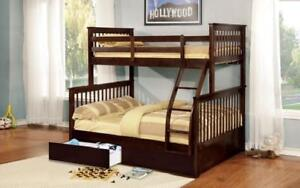 Bunk Bed - Twin over Double Mission Style with or without Drawers Solid Wood - Espresso Espresso / With Drawers