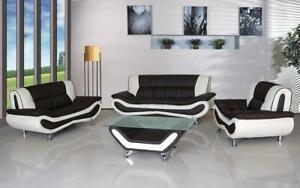 Sofa Set - 4 Piece - Black   White Black   White