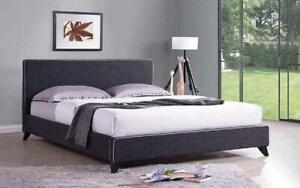 Platform Bed with Linen Style Fabric - Charcoal King / Charcoal / Linen Style Fabric