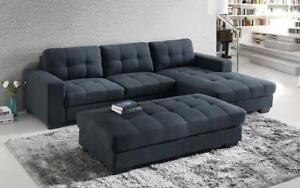 Fabric Sectional Sofa Bed with Left Side Or Right Side Chaise - Grey Right Side Chaise / Grey