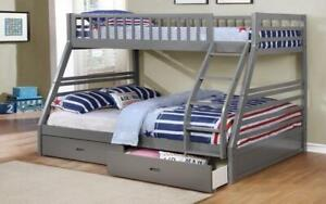 Bunk Bed - Twin over Double with 2 Drawers Solid Wood - Grey Grey
