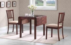 Kitchen Set Solid Wood with Extendable Leafs - 3 pc - Oak | Beige 3 pc Set / Oak | Beige