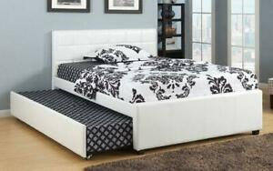 Platform Bed with Leather and Twin Trundle - White Twin / White / Leather