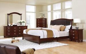 Dresser & Mirror + Chest - 14 Dresser + Mirror / Brown Cherry / Solid Wood