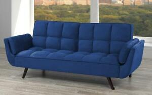 Velvet Fabric Sofa Bed with Arm Rest - Royal Blue Royal Blue