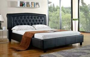 Platform Bed with Bonded Leather - Black Double / Black / Bonded Leather