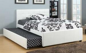 Platform Bed with Leather and Twin Trundle - White Double / White / Leather