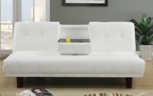 ***BLOWOUT SALE****FRENCH SCRIPT FABRIC KLICK KLACK SOFA BED****LOWEST PRICES