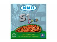 KMC S1 Color orange chain for fixie or single speed or internal gear hub