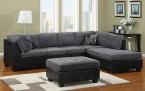 Fabric Sectional Set with Left Side Or Right Side Chaise and Ottoman - Grey | Black Right Side Chaise / Black | Grey Canada Preview