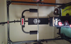 York FULL body squat rack gym with over 350 pounds of iron weigh