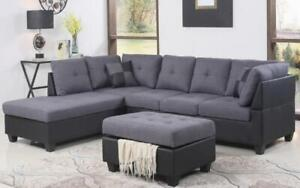 Fabric Sectional set with Chaise and Ottoman - Grey | Black Black | Grey / Left Side Chaise