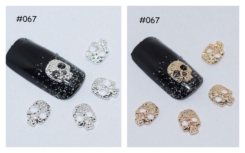 2 St. 3D Nagelschmuck Overlay Deko Skull Totenkopf Nail Art gold und silber 067