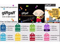 FREE GIFFGAFF SIM CARD WITH £5 FREE CREDIT