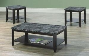 Coffee Table Set with Mable Top - 3 pc - Espresso | Grey Espresso | Grey