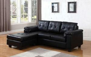 Leather Sectional with Left Side Or Right Side Chaise - Black Left Side chaise / Black