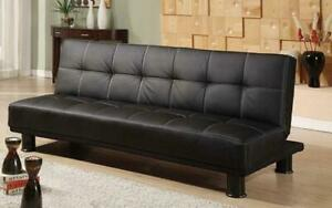 Leather Sofa Bed with Black Legs - Black Black Canada Preview